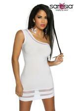 Minikleid asymmetrisch transparente Details sexy Mini weiß Club Kleid Gr M