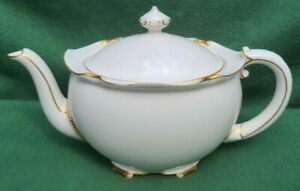 Royal Crown Derby Teapot White And Gold Regency