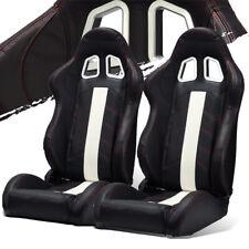 Black Pvc Leatherwhite Stripred Stitching Leftright Recaro Style Racing Seats