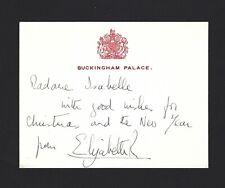 QUEEN ELIZABETH II Signed Buckingham Palace Card Stock, Rare, JSA LOA, Vintage