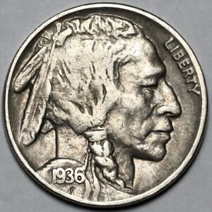 1936 UNITED STATES COPPER NICKEL INDIAN HEAD BUFFALO NICKEL 5 FIVE CENT COIN