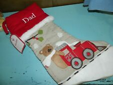 "Pottery Barn Kids Woodland Christmas Stocking Train Bear ""Dad"""