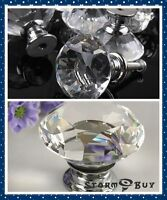 Crystal Glass Knob Kitchen Door Bar Cabinet Drawer Pull Handle Hardware Handles