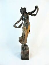 LARGE 15 INCH BRONZE BY FRANZ BERGMAN OF SEMI NUDE EXOTIC DANCER C1900