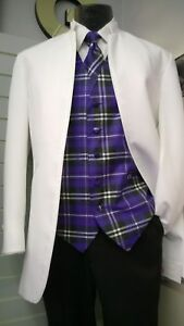 White Nehru Tuxedo Jacket With Satin Trim & Mandarin Collar - 44 Long