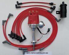 small cap CHRYSLER 73-78 400 RED HEI Distributor+Black 45k Coil+Spark Plug Wires