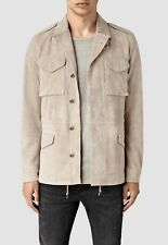 "ALL SAINTS SAND ""PAXSON"" SUEDE LEATHER MILITARY JACKET COAT - S M L XL NEW TAGS"