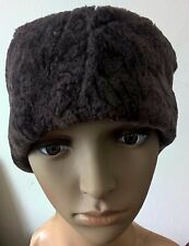 dark brown sheepskin leather fur pelt ear warmer headband winter hat unisex