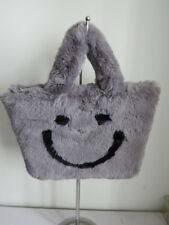 Faux  fur hand bag/ casual bag gray bag art/craft bag very soft and warm smaile