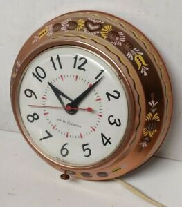 1950's COPPER PAINTED VINTAGE ARTS & CRAFTS GENERAL ELECTRIC KITCHEN WALL CLOCK