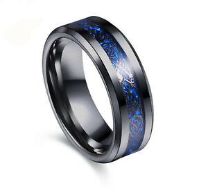 Silver/Blue/Black Celtic Titanium Stainless Steel Men's Wedding Band Rings 6-12