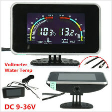 2in1 LCD Digital Display Car Voltmeter Gauge / Water Temp Temperature DC 9-36V