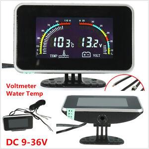 2in1 LCD Digital Display Car Voltmeter Gauge / Water Temp Temperature DC 9-36V