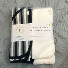 NEW Burt's Bees Baby - Organic Cotton Hooded Towels, Absorbent 2 pk Stripe