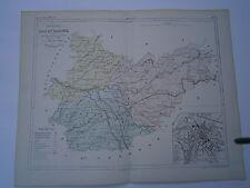 Carte 19° 1852  couleur Malte brun Département Tarn et Garonne plan de Montauban