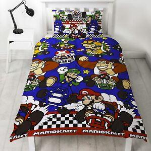 Nintendo Super Mario Kart Racer Single Duvet Cover Bedding Donkey Kong