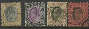 TRANSVAAL 1904-09 KEVII 2/- to 10/- (4 stamps) ⊙ (Comb'd shipping ≥ £1.15/order)