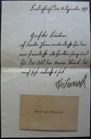 s1931) Fürst Otto von Bismarck - Brief mit Unterschrift gest Friedrichsruh 1895