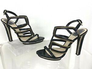 Dior 10 US 40.5 EU Black Leather Strappy Heels Shoes Sandal Platform Runway Auth