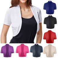 Women Ladies Short Sleeve Pleated Shrug Bolero Cardigan Jacket Crop Tops T-Shirt