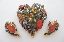 Rare Juliana D&E Multi Rhinestone AB Glass Heart Brooch Clip Earrings Set