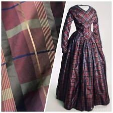NEW Designer 100% Silk Taffeta Plaid Tartan Fabric- Burgundy Gold Brown BTY