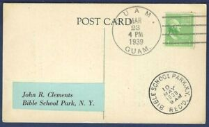 Prayer Post Card from Guam to Bible School Park, N.Y. 1939