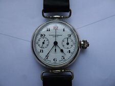 Vacheron & Constantin Triple Signed Sterling Silver One Pusher Chronograph Watch