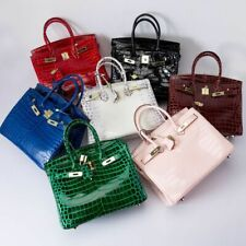 Cow Leather Women's Elegant Handbags Crocodile Embossed Crossbody Shoulder Bags