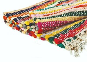 Recycled Cotton Fair Trade Loom Mat Handmade Multi Colored Chindi Floor Rag Rug