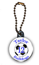 Soccer Zipper Pull/Bag Tag Personalized with Name, Number, Team 1.5 Inch Charm
