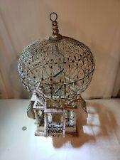 Antique Wood & Wire Bird Cage Rare Architectural Victorian Dome House White