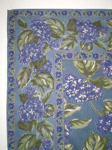 NEW APRIL CORNELL 100% Cotton Sq Kitchen TABLECLOTH Lavender Blue FLOWERS