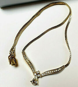 VINTAGE JEWELLERY SIGNED CHRISTIAN DIOR CLEAR CRYSTAL GOLD PLATED NECKLACE