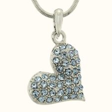 Blue Heart Made With Swarovski Crystal Gift Love Pendant Necklace Jewelry Gift