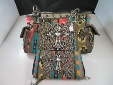 New Purses Rustic Couture's Multi Colored Women's Handbag & Clutch with Cross