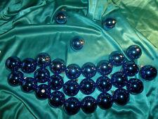 ~ Konvolut 35 alte Christbaumkugeln Glas blau gold Vintage Weihnachtskugeln ~