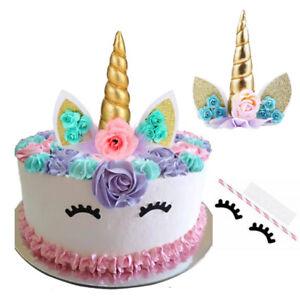Unicorn Cake Topper Gold Birthday Horn Ears Eyelash Party Decoration Reusable UK