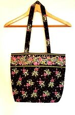 Vera Bradley Tote Shoulder Bag Purse Carry On Travel Black Pink Roses Preppy