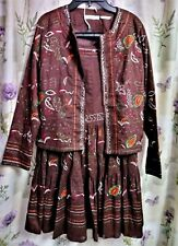 ANN TRINITY VTG 2 PC SKIRT SET BROWN AWESOME EMBROIDERING LADIES SZ MED COTTON