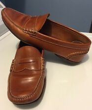 Rare Castellano Ano 1920 Madrid Tan Handmade Leather Casual Slip-On Loafers