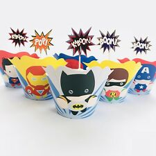 💥12 Superhero Cupcake Topper + 12 Wrapper. Party Supplies Lolly Loot Bag