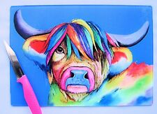 Blue Glass Chopping Board with a HIGHLAND COW  design by artist Maria Moss