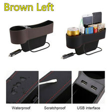 1X PU Leather Brown Car Left Side Seat Gap Storage Box 2 USB Charger Cup Holder