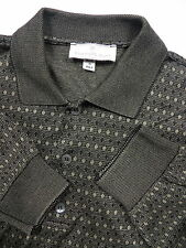 ERMENEGILDO ZEGNA MENS LARGE POLO SWEATER GREEN GEOMETRIC DIAMOND MADE IN ITALY