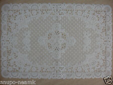 PAIR OF WHITE LACE FLOWER DINING MAT TABLE VINTAGE PLASTIC CLOTH PLACEMAT