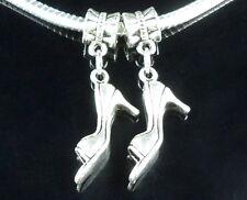 25 Tibetan Silver Shoes Dangle Charms Fit European Bracelet ZY84