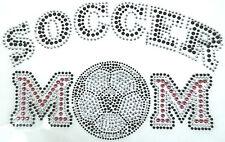 """SOCCER MOM"" WITH SOCCER BALL - RHINESTONE IRON ON HEAT TRANSFER  (9""w  X  6""h)"