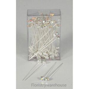 4mm professional faux diamond pins Iridescent (x72)