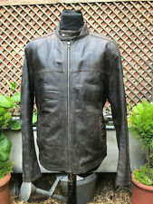 LAKELAND brown leather cafe Racer biker Style casual jacket size medium